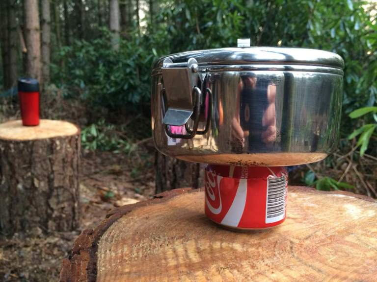 Trying out my drinks can stove - pretty damn good!