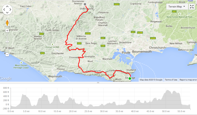 Day one's route and profile.