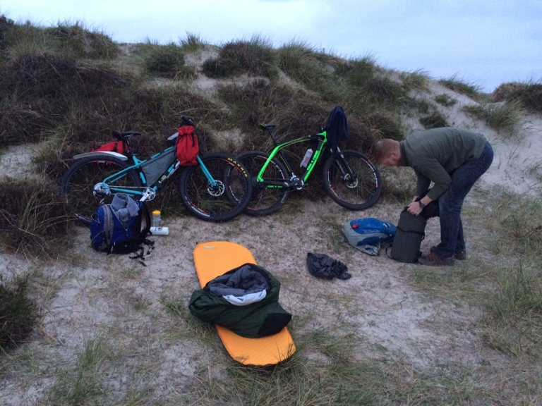 Packing up after a night in the dunes.